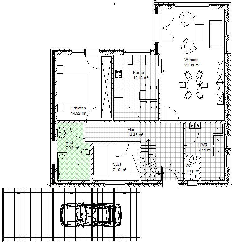 grundriss bungalow 10 x 16 ihr traumhaus ideen. Black Bedroom Furniture Sets. Home Design Ideas